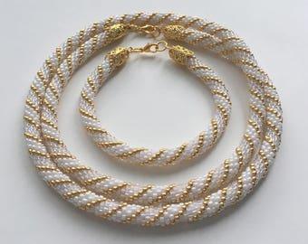 White Beaded Crochet Jewelry Set, White Beaded Crochet Rope Necklace and Bracelet