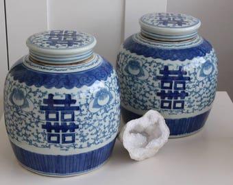 pair large vintage chinese porcelain jars with covers bright blue white vase chic elegant hollywood regency