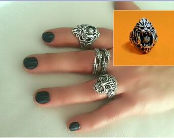 Boho Rings, Lion ring, Skull ring, Long Rings, Eagle Silver Ring, Gypsy Rings, Knuckle rings, Silver Rings, Hippie Ring, Boho Jewelry, Skull