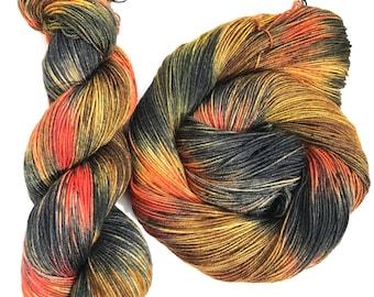 Lowak- Hand dyed yarn, sock weight, Superwash Merino, 463 yards, speckled yarn