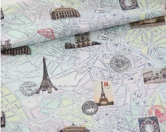 Tourist attractions Maps Patterned Fabric, Cute, sewing, Quilt made in Korea Half Yard