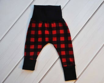 Grow with Me Harem Pants, Buffalo Plaid Leggings, Gender Neutral Clothes, Baby Shower Gift, Black Harems, Red Toddler Pants, Boy Pants