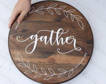 LARGE, Lazy Susan, Lazy Susan Turntable, Custom Lazy Susan, Wood Tray, Wooden Tray, Breakfast Tray, gather sign, baker gift, turntable