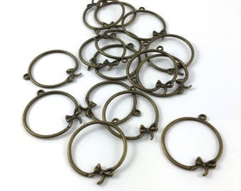 Set of 5 large connector ring and bow color bronze