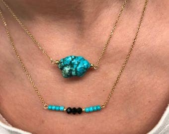 Turquoise Necklace, Turquoise Pendant, Turquoise Stone Necklace, 24k Gold Filled Necklaces from Sterling Silver 925, Made in Greece.