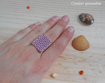 Ring woven with miyuki seed beads, gift idea mother grandmother, Easter