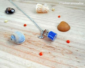 Minimalist Necklace blue glass bottle, anchor pendant, gift idea party a grand mothers, Easter