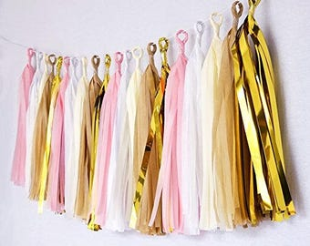 Tassel Garland Pink-White-Ivory-Tan-Gold Mylar Birthday Wedding Baby Shower