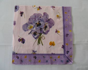 set of 2 bouquet of pansies paper napkins