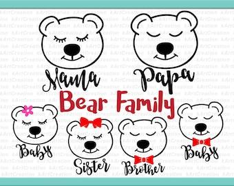 mama bear svg, momma bear svg, papa bear svg, baby bear svg, brother bear svg, sister bear svg, bear family svg, bear family bundle iron on