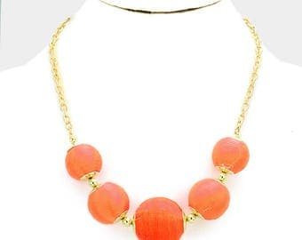 Coral Bon Bon Thread Ball Necklace
