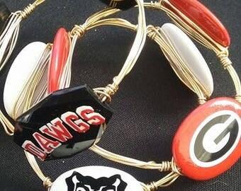University of Georgia Bulldogs Wire Wrapped Bangle Bracelets