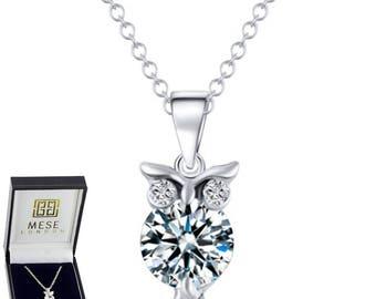 Diamond Owl Necklace Silver Pendant - Elegant Gift Box