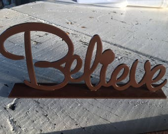 Metal Believe Sign Brown FREE SHIPPING!!