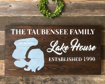 Lake House Established Sign | Family Name Sign | Custom Lake House Gift | Father's Day Gift | Personalized Cabin Sign | Lake House Decor