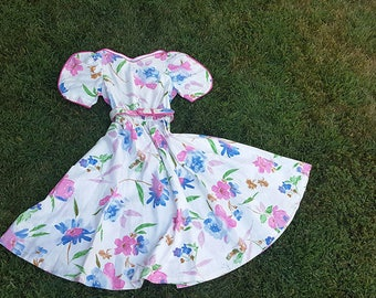 Vintage Dress, Prom Dress, Cocktail / Party Dress, Summer Dress, 1980s, Sabino Designer, Tea Party, Pink White Size 10 Small to Medium