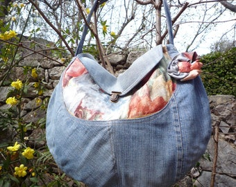Hobo denim sky and multi floral print pockets