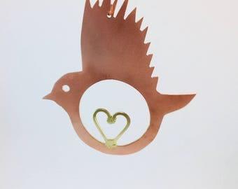 Copper Love Bird with brass heart