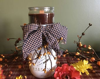 Mason Jar Candle Holder,  Country Candle Holder, Rustic Candle Holder, Fabric Bow, Pip Berries, Painted Mason Jar
