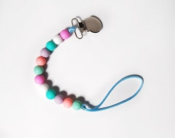 Pastel Silicone Pacifier Clip, Baby Pacifier Clip, Chew Beads, Baby Teether, Baby Shower Gift, Dummy Clip, Easter Baby