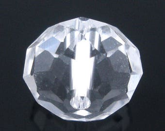 Set of 2 beads Rondelle faceted Crystal - Transparent - 14x12mm