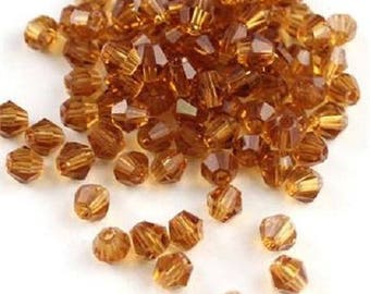 Set of 10 beads Bicone - amber - 4mm - Ref: L123