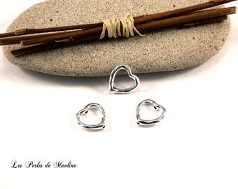 Set of 2 heart - silver - 14x14mm - ref:mb07788 shaped Metal beads