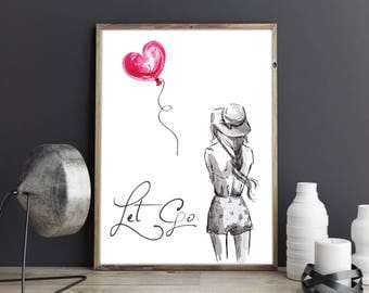 Let go Grey and Pink Girl with Heart Balloon Motivational Inspirational Watercolour Wall Art Print