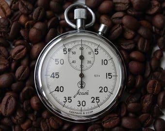 Soviet stopwatch AGAT, Mechanical chronometer USSR, Working.