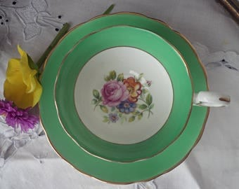Radfords China Green Teacup and Saucer, Pink Roses, Blue Floral, Gold Trim, Wide Mouth Teacup, Mother's Day Gift
