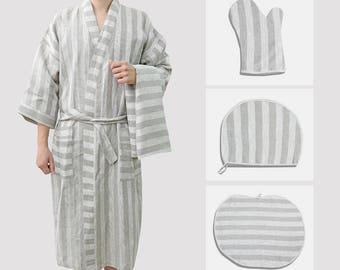 Bath set 5 pcs bathrobe towel cap mat mitten 100% linen Pure Flax L XL XXL 2XL