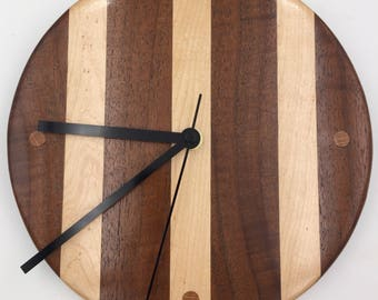 Curly Walnut and Birdseye Maple Wooden Wall Clock
