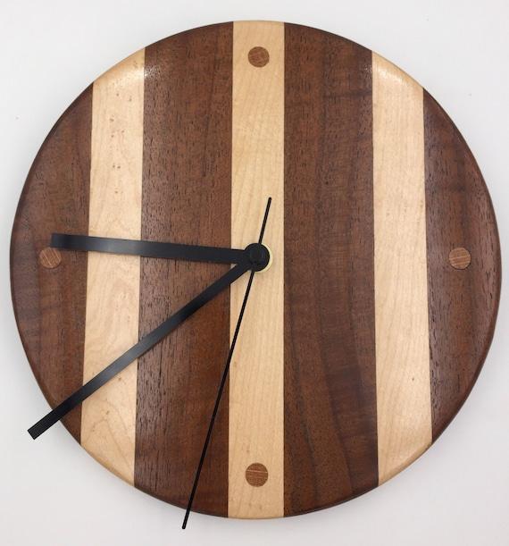 Curly Walnut and Birdseye Maple Wooden Wall Clock