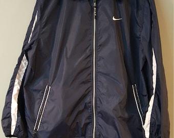 Vintage Nike Track Jacket Polyester Navy Blue Jacket, Size Medium Vintage Nike Atheltic Zip - Up Coat