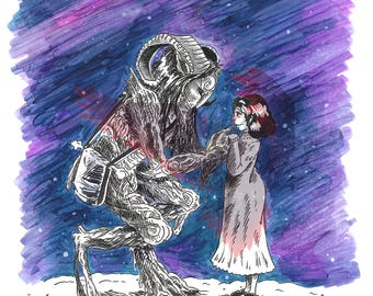 Pan's Labyrinth Illustration -Guillermo Del Toro - Copic Marker - Ink - Print