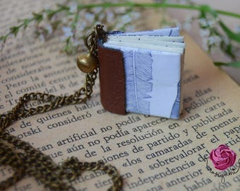 Book necklace, book chain, bronze chain, boho necklace, long necklace,gift for book lovers ,tiny jewelry,origami necklace,plume necklace