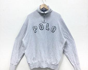 Rare!!! Vintage Polo Ralph Lauren Sweatshirt Polo Spellout Half Zipper Polo Bear Polo Rugby Polo Stadium