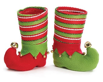 2 Christmas Party Vases, Christmas Elf Boot Vases, Christmas Vases, Holiday Party Vase