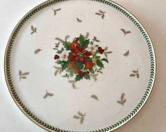 "Mikasa Holiday Delight Cake Plate, 9 3/4"", Floral Center Petite Bone China from Indonesia"