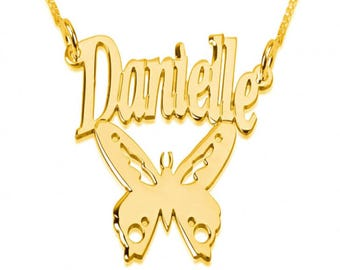 Name Necklace Jewelry Pendant 24k Gold Plated Butterfly Name Necklace Pendant