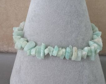 Pale Green/Aqua Amazonite Nugget & Sterling Silver Bracelet *Unique*