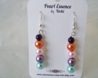 Multi Pearl Dangle Earrings