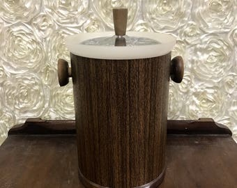 Vintage Ice Bucket Wood like Kitchen Decor Mid Century 60s Mod Handle