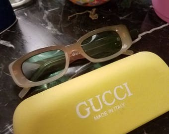 Vintage Gucci Sunglasses with Original Yellow Case. Smokey frames
