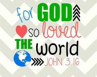 For god so loved the world-John 3:16-SVG-DXF