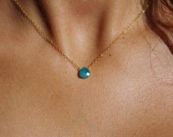 Necklace 14 k blue stone