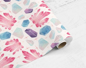 Gems & Crystals Gift Wrap   Multi Colored Gem Wrapping Paper   Holiday Wrapping Paper   Birthday Gift Wrap