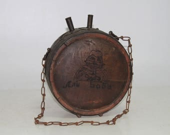 old vintage wooden barrel for water 19Century wrought iron and oak