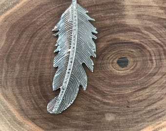 Pave diamond and sterling silver pendant, pave diamond feather pendant, interchangeable necklace, feather pendant