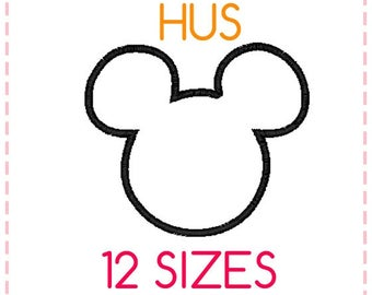 12 SIZES Mickey Mouse Applique Embroidery Design HUS Format,Embroidery Designs ,Machine Embroidery,Mickey Mouse Head,Instant Download